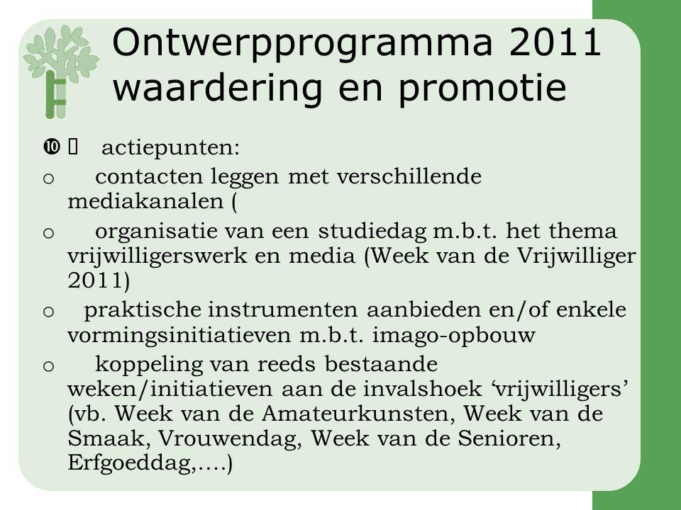 Ontwerpprogramma 2011 waardering en promotie  actiepunten: o contacten leggen met verschillende mediakanalen ( o organisatie van een studiedag m.b.t.