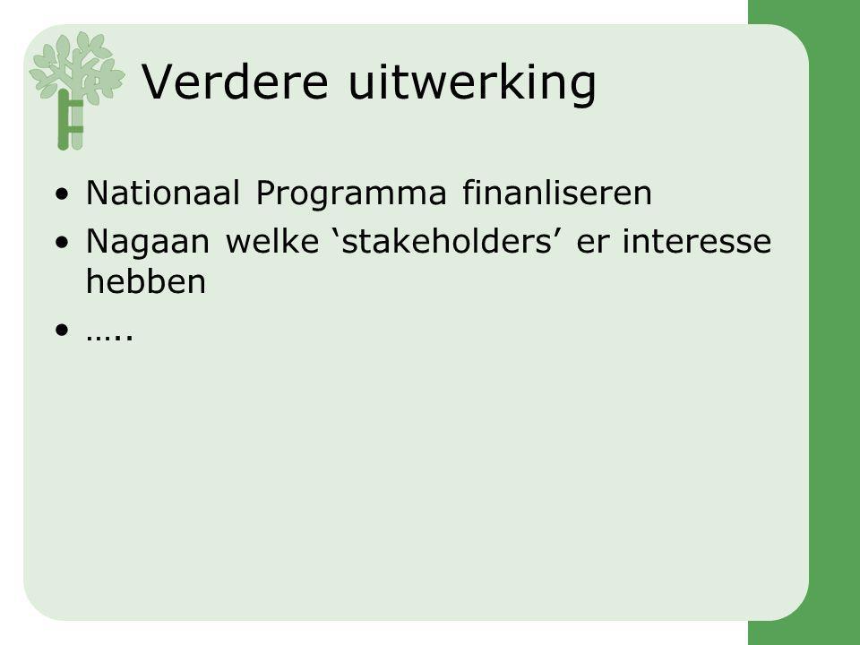 Verdere uitwerking Nationaal Programma finanliseren Nagaan welke 'stakeholders' er interesse hebben …..