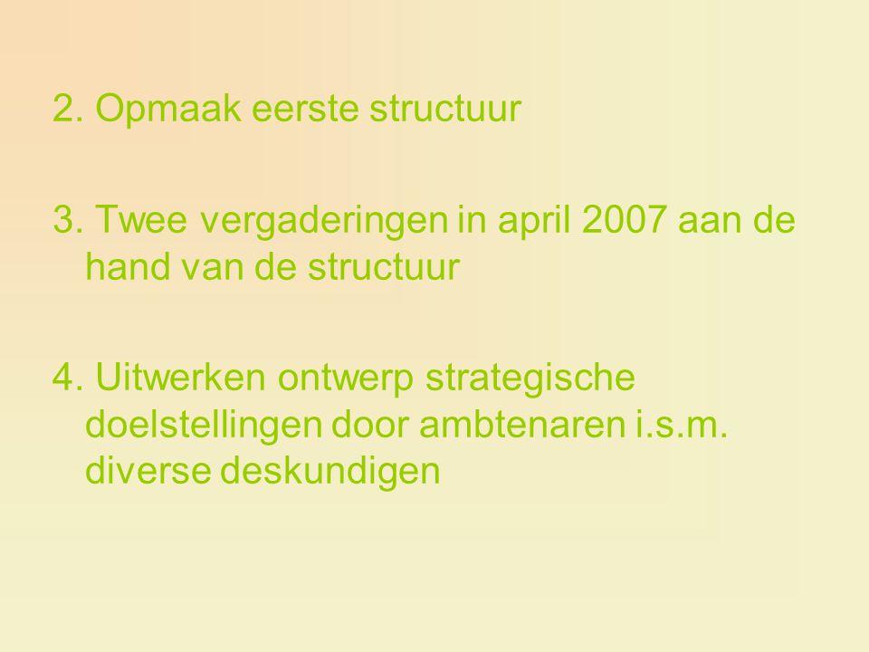 2. Opmaak eerste structuur 3. Twee vergaderingen in april 2007 aan de hand van de structuur 4. Uitwerken ontwerp strategische doelstellingen door ambt