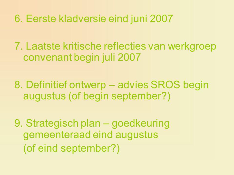 6. Eerste kladversie eind juni 2007 7. Laatste kritische reflecties van werkgroep convenant begin juli 2007 8. Definitief ontwerp – advies SROS begin