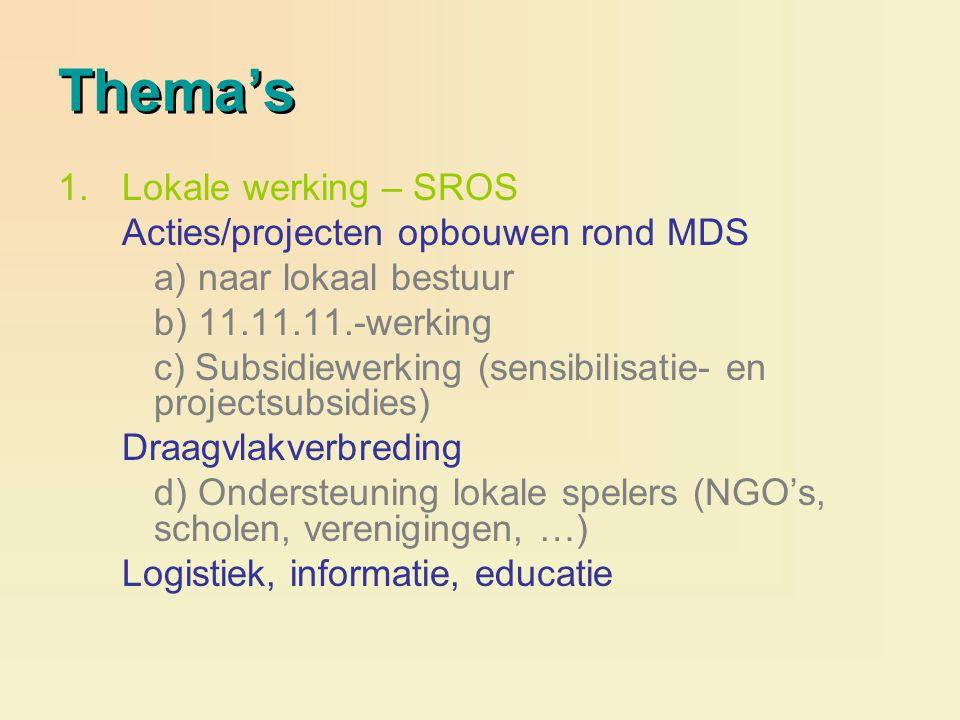 Thema's 1.Lokale werking – SROS Acties/projecten opbouwen rond MDS a) naar lokaal bestuur b) 11.11.11.-werking c) Subsidiewerking (sensibilisatie- en
