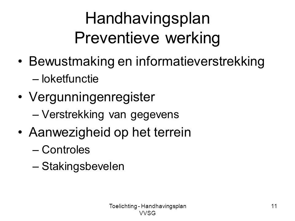 Toelichting - Handhavingsplan VVSG 11 Handhavingsplan Preventieve werking Bewustmaking en informatieverstrekking –loketfunctie Vergunningenregister –V
