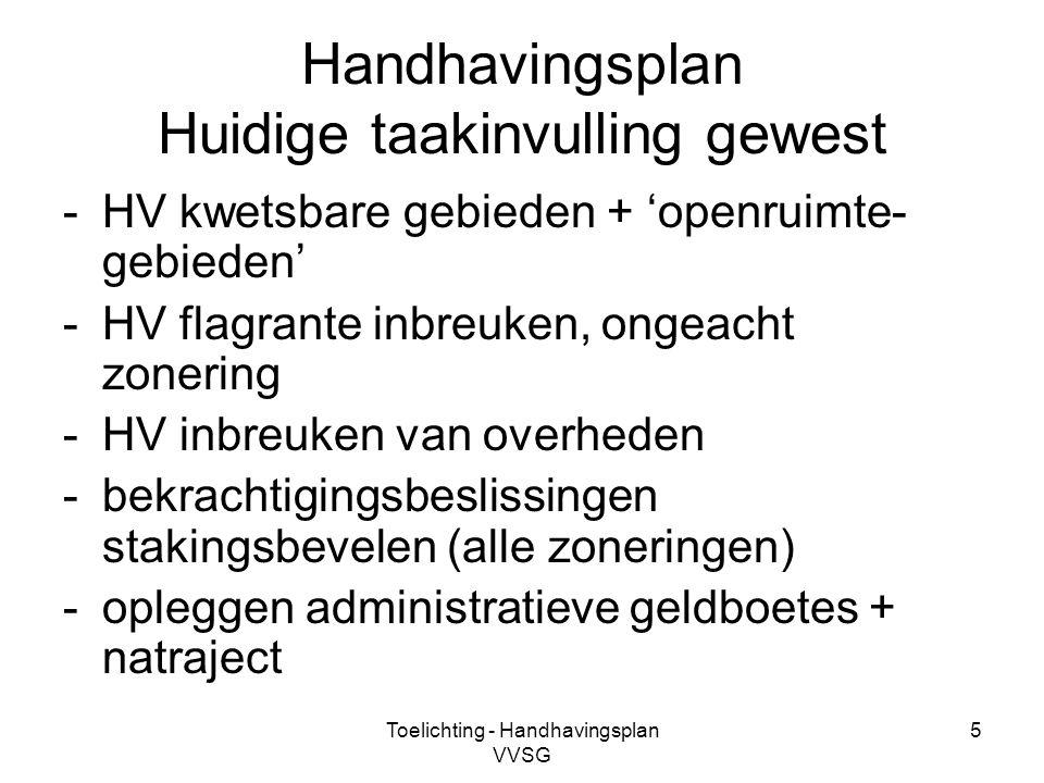 Toelichting - Handhavingsplan VVSG 6 Handhavingsplan Huidige taakinvulling gemeente -al het overige -voornamelijk in niet-kwetsbaar gebied: verjaringsproblematiek.