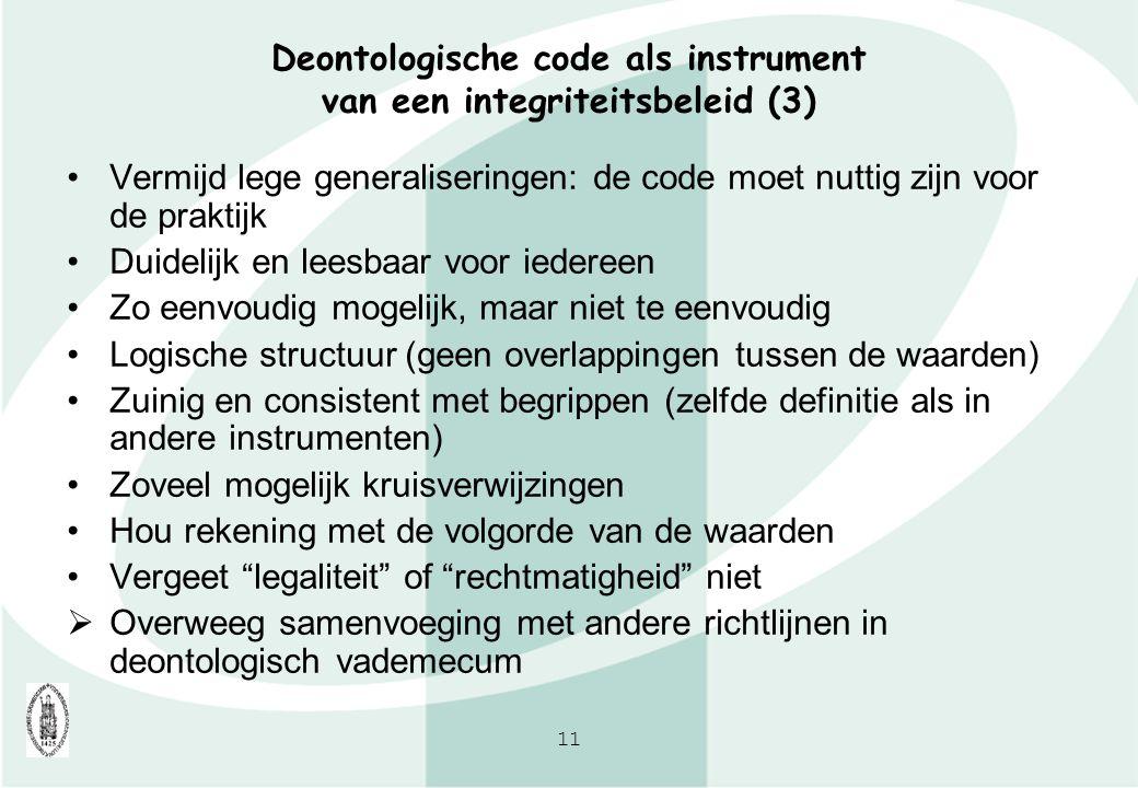 11 Deontologische code als instrument van een integriteitsbeleid (3) Vermijd lege generaliseringen: de code moet nuttig zijn voor de praktijk Duidelij