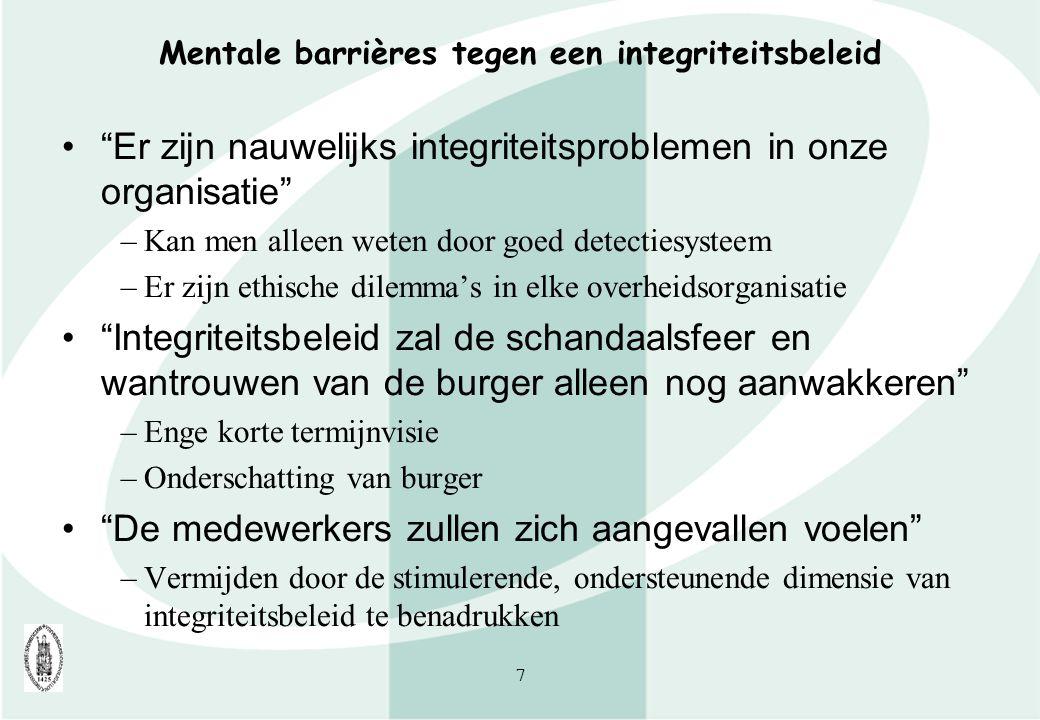 """7 Mentale barrières tegen een integriteitsbeleid """"Er zijn nauwelijks integriteitsproblemen in onze organisatie"""" –Kan men alleen weten door goed detect"""