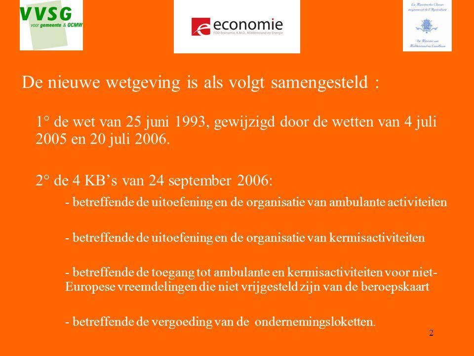 2 1° de wet van 25 juni 1993, gewijzigd door de wetten van 4 juli 2005 en 20 juli 2006. 2° de 4 KB's van 24 september 2006: - betreffende de uitoefeni
