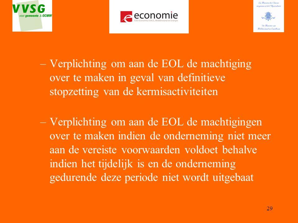 29 –Verplichting om aan de EOL de machtiging over te maken in geval van definitieve stopzetting van de kermisactiviteiten –Verplichting om aan de EOL