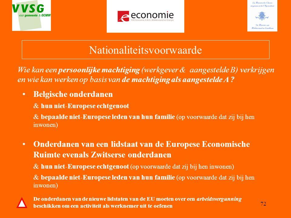 72 Nationaliteitsvoorwaarde Belgische onderdanen & hun niet-Europese echtgenoot & bepaalde niet-Europese leden van hun familie (op voorwaarde dat zij