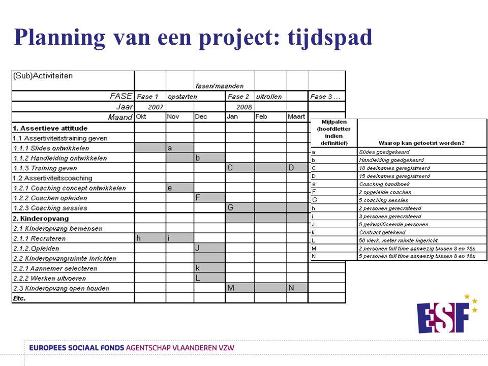 Planning van een project: tijdspad