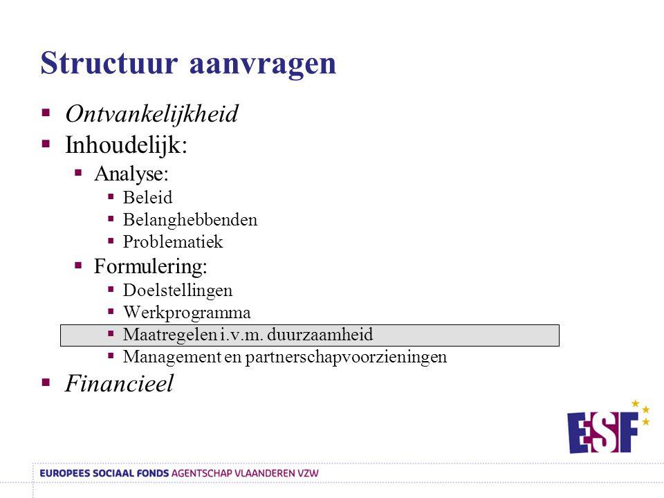 Structuur aanvragen  Ontvankelijkheid  Inhoudelijk:  Analyse:  Beleid  Belanghebbenden  Problematiek  Formulering:  Doelstellingen  Werkprogr