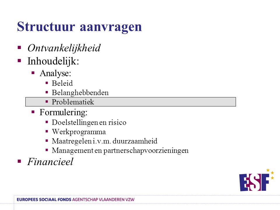 Structuur aanvragen  Ontvankelijkheid  Inhoudelijk:  Analyse:  Beleid  Belanghebbenden  Problematiek  Formulering:  Doelstellingen en risico 