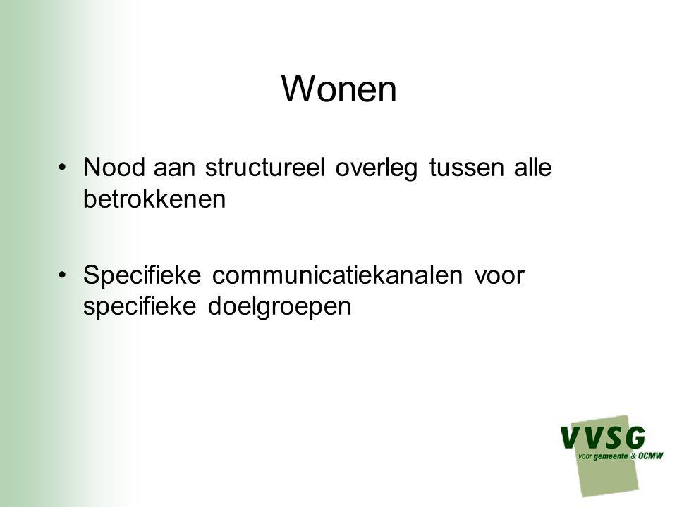 Wonen Nood aan structureel overleg tussen alle betrokkenen Specifieke communicatiekanalen voor specifieke doelgroepen