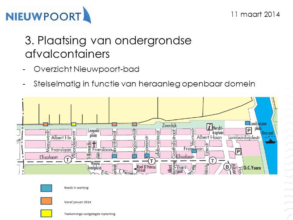 Stad Nieuwpoort | Marktplein 7 | 8620 Nieuwpoort www.nieuwpoort.be 3. Plaatsing van ondergrondse afvalcontainers -Overzicht Nieuwpoort-bad -Stelselmat