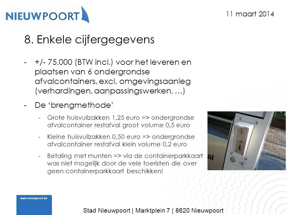 Stad Nieuwpoort | Marktplein 7 | 8620 Nieuwpoort www.nieuwpoort.be 8. Enkele cijfergegevens -+/- 75.000 (BTW incl.) voor het leveren en plaatsen van 6