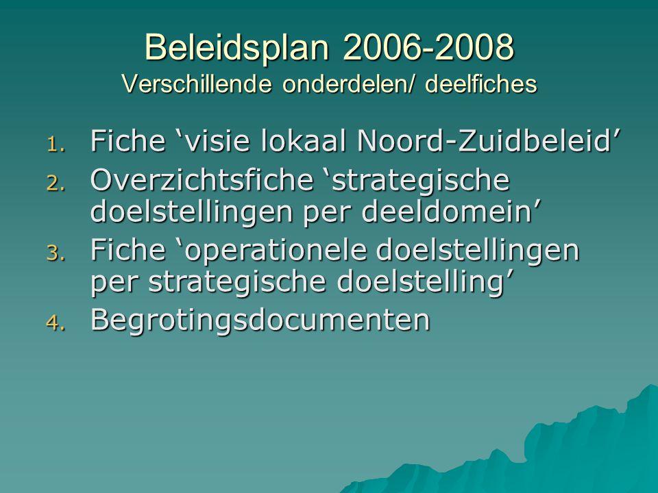 Beleidsplan 2006-2008 Verschillende onderdelen/ deelfiches 1.