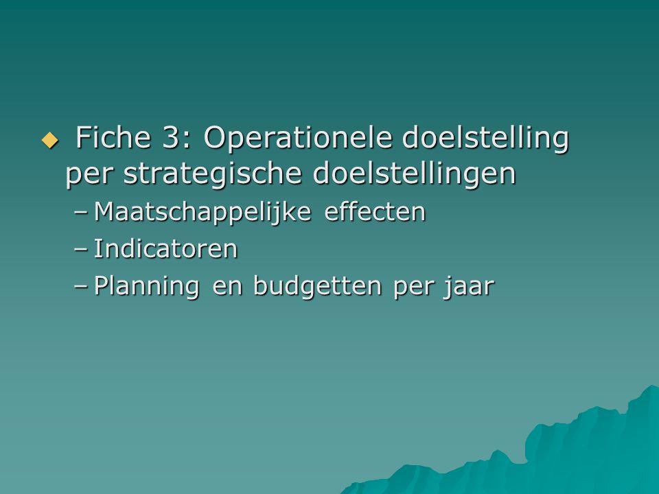  Fiche 3: Operationele doelstelling per strategische doelstellingen –Maatschappelijke effecten –Indicatoren –Planning en budgetten per jaar