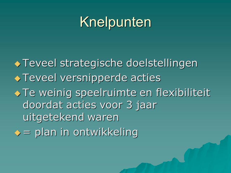 Knelpunten  Teveel strategische doelstellingen  Teveel versnipperde acties  Te weinig speelruimte en flexibiliteit doordat acties voor 3 jaar uitgetekend waren  = plan in ontwikkeling