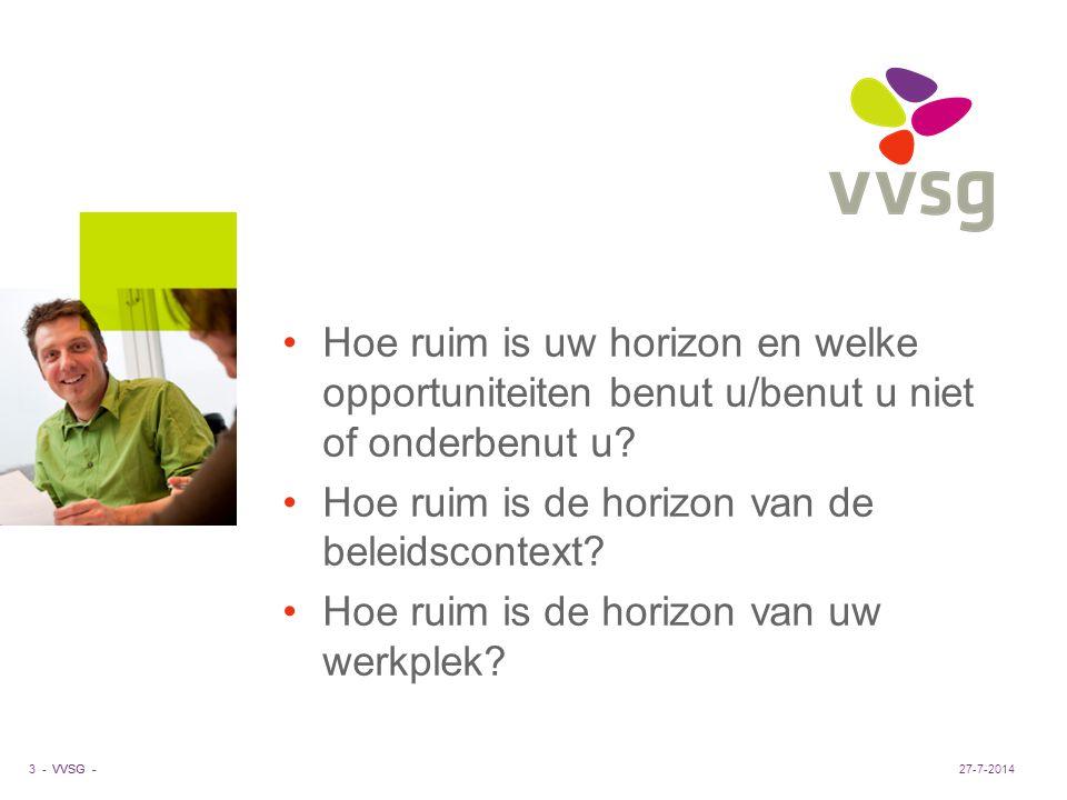 VVSG - Hoe ruim is uw horizon en welke opportuniteiten benut u/benut u niet of onderbenut u? Hoe ruim is de horizon van de beleidscontext? Hoe ruim is