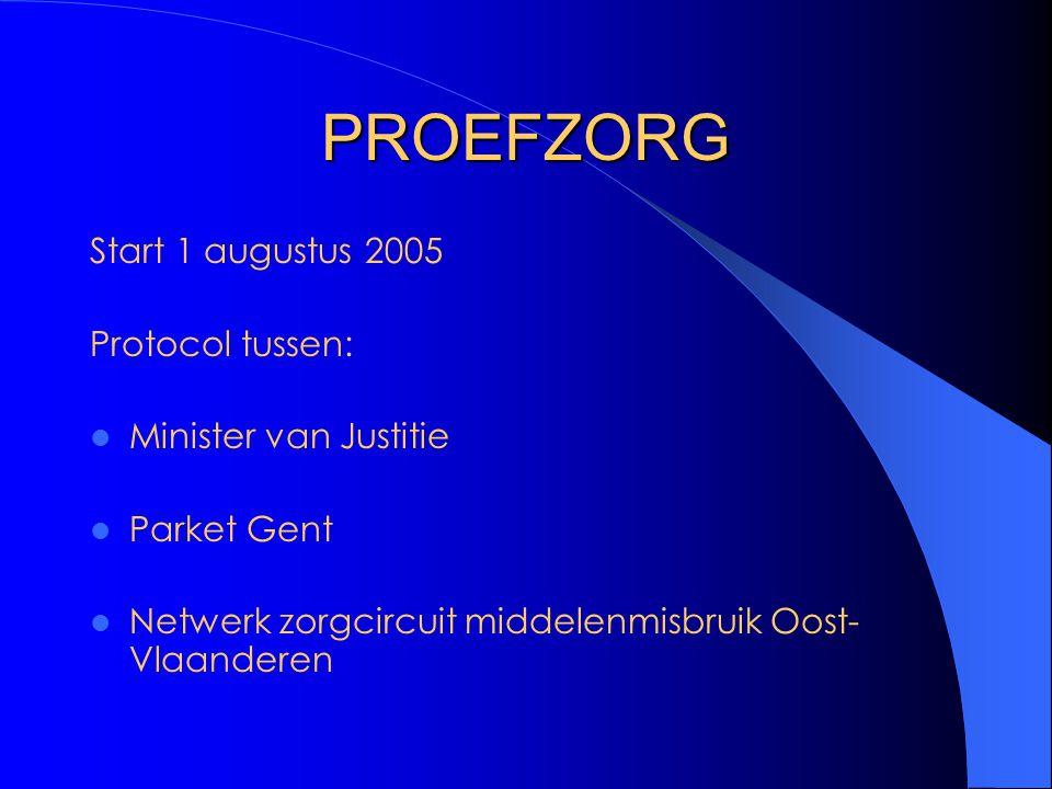 PROEFZORG Start 1 augustus 2005 Protocol tussen: Minister van Justitie Parket Gent Netwerk zorgcircuit middelenmisbruik Oost- Vlaanderen