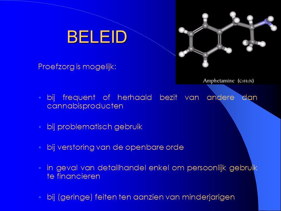 BELEID Proefzorg is mogelijk: bij frequent of herhaald bezit van andere dan cannabisproducten bij problematisch gebruik bij verstoring van de openbare