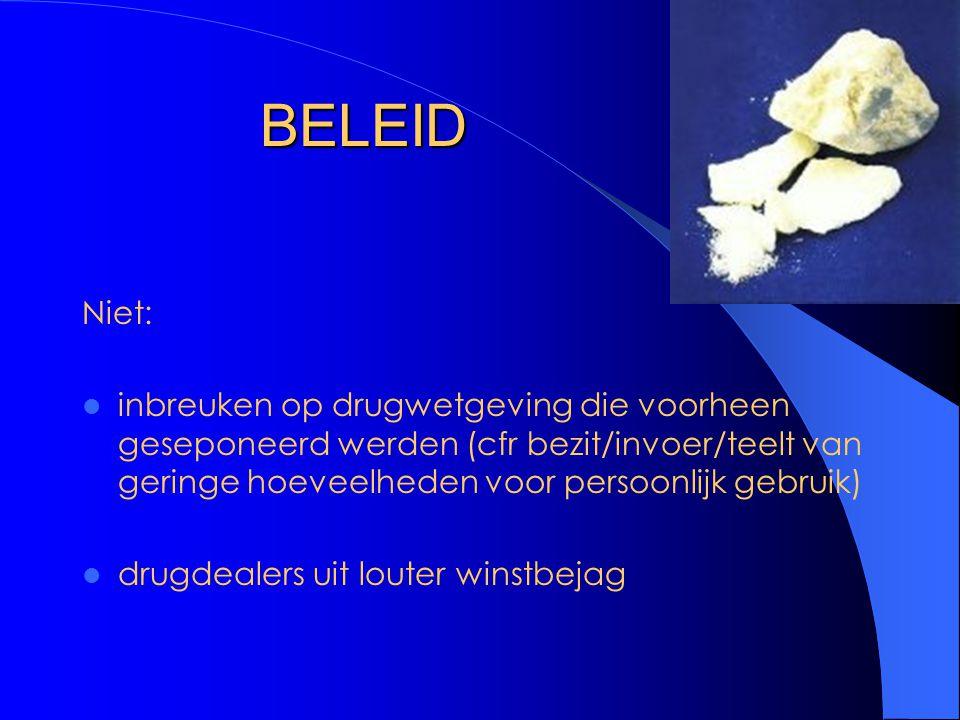 BELEID Niet: inbreuken op drugwetgeving die voorheen geseponeerd werden (cfr bezit/invoer/teelt van geringe hoeveelheden voor persoonlijk gebruik) drugdealers uit louter winstbejag