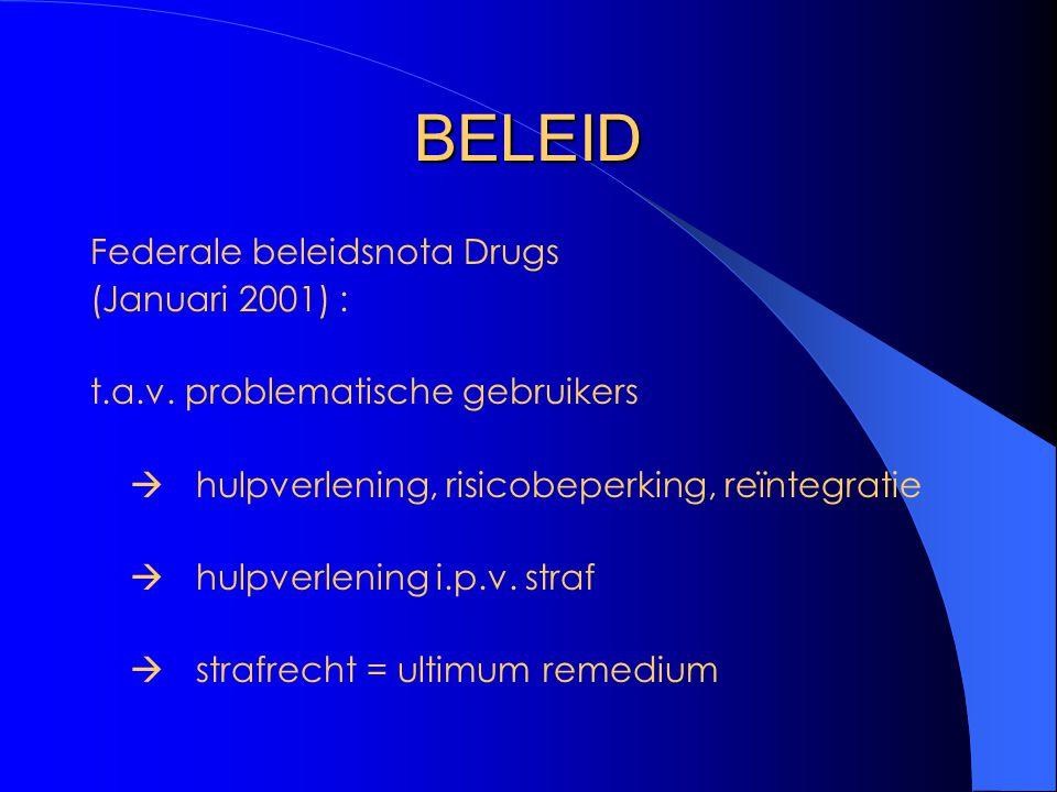 BELEID Federale beleidsnota Drugs (Januari 2001) : t.a.v. problematische gebruikers  hulpverlening, risicobeperking, reïntegratie  hulpverlening i.p