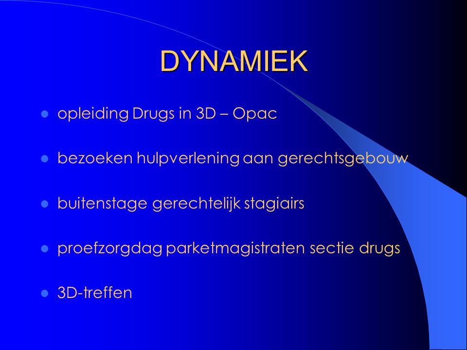 DYNAMIEK opleiding Drugs in 3D – Opac bezoeken hulpverlening aan gerechtsgebouw buitenstage gerechtelijk stagiairs proefzorgdag parketmagistraten sectie drugs 3D-treffen