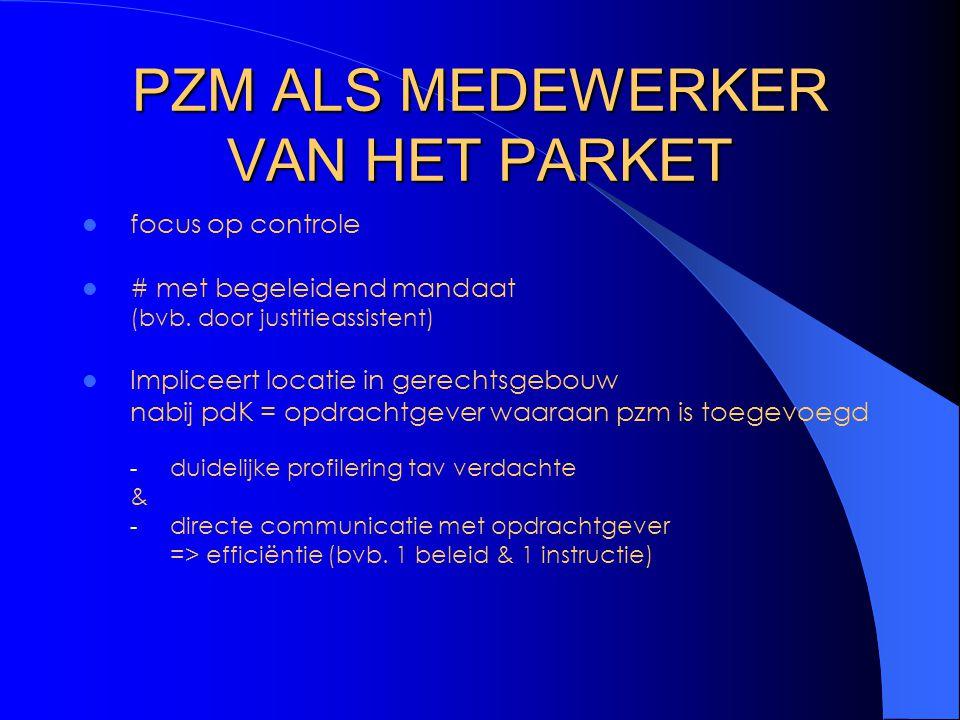 PZM ALS MEDEWERKER VAN HET PARKET focus op controle # met begeleidend mandaat (bvb.