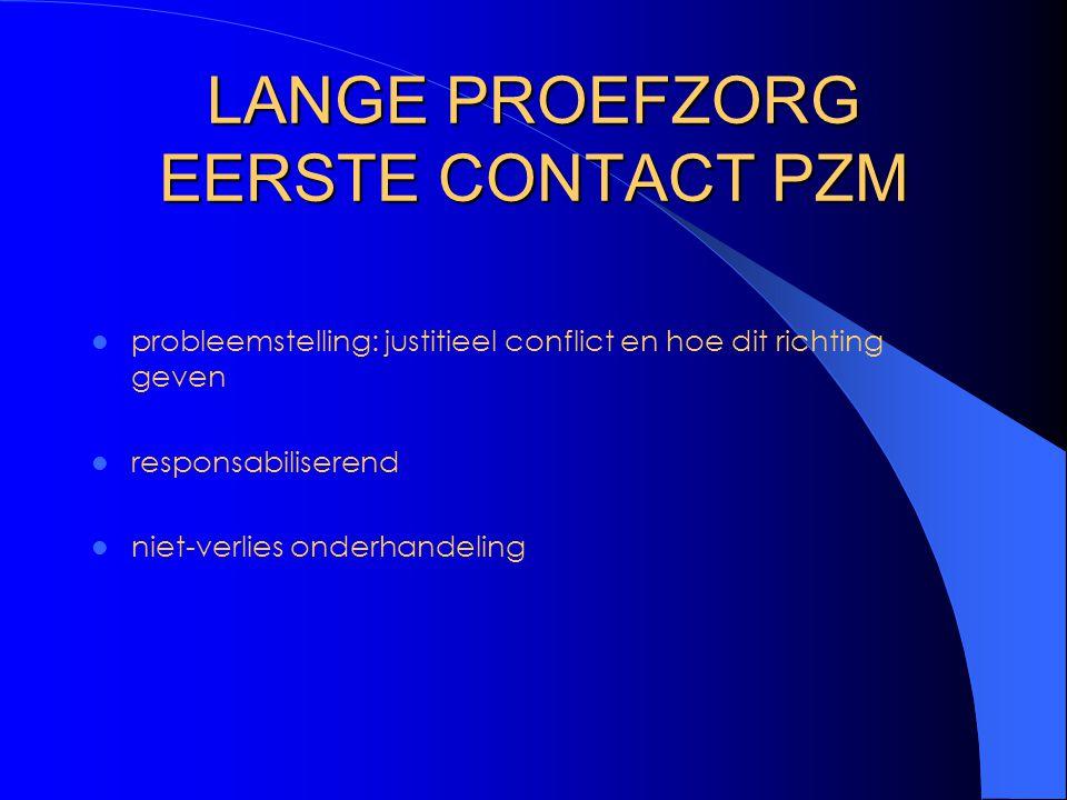 LANGE PROEFZORG EERSTE CONTACT PZM probleemstelling: justitieel conflict en hoe dit richting geven responsabiliserend niet-verlies onderhandeling