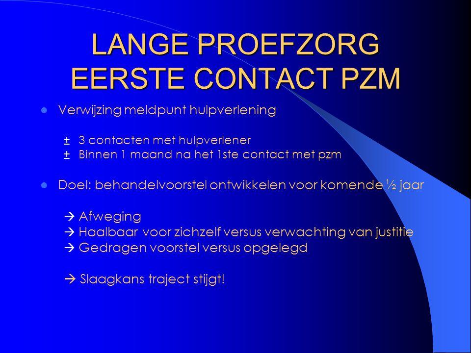LANGE PROEFZORG EERSTE CONTACT PZM Verwijzing meldpunt hulpverlening ± 3 contacten met hulpverlener ± Binnen 1 maand na het 1ste contact met pzm Doel: