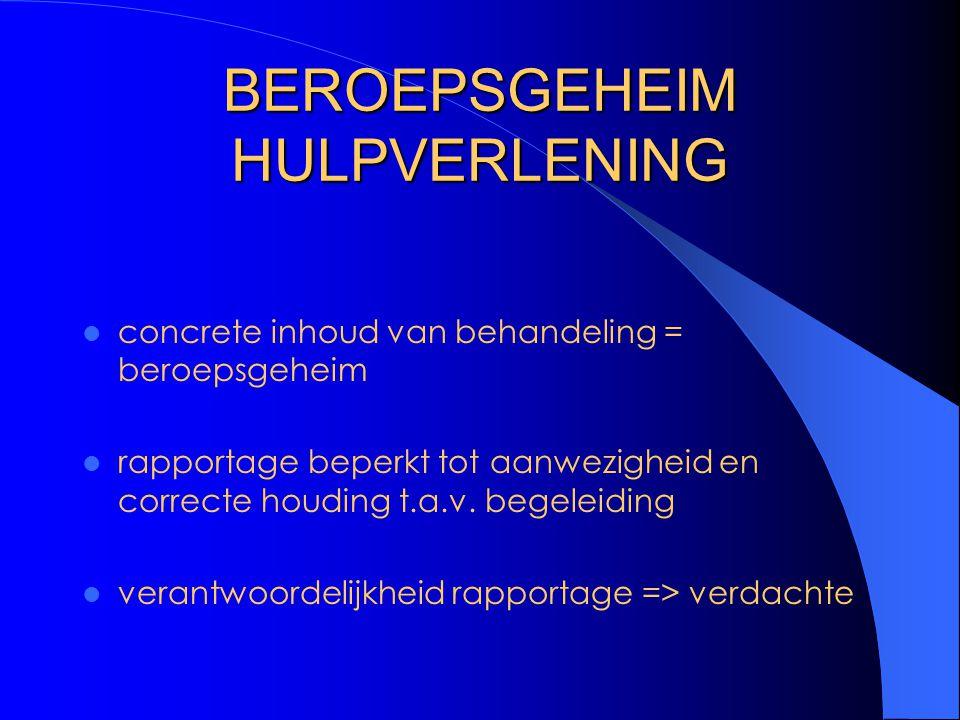 BEROEPSGEHEIM HULPVERLENING concrete inhoud van behandeling = beroepsgeheim rapportage beperkt tot aanwezigheid en correcte houding t.a.v. begeleiding