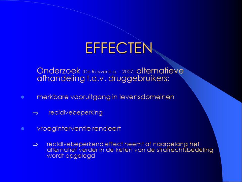 EFFECTEN Onderzoek (De Ruyver e.a. – 2007 ) alternatieve afhandeling t.a.v. druggebruikers: merkbare vooruitgang in levensdomeinen  recidivebeperking