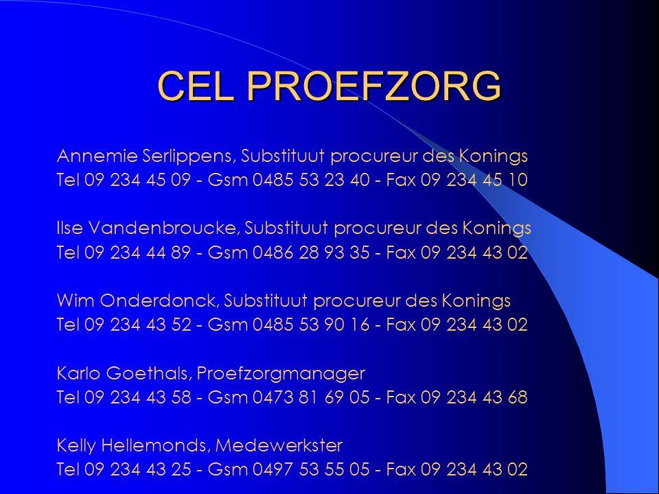 CEL PROEFZORG Annemie Serlippens, Substituut procureur des Konings Tel 09 234 45 09 - Gsm 0485 53 23 40 - Fax 09 234 45 10 Ilse Vandenbroucke, Substituut procureur des Konings Tel 09 234 44 89 - Gsm 0486 28 93 35 - Fax 09 234 43 02 Wim Onderdonck, Substituut procureur des Konings Tel 09 234 43 52 - Gsm 0485 53 90 16 - Fax 09 234 43 02 Karlo Goethals, Proefzorgmanager Tel 09 234 43 58 - Gsm 0473 81 69 05 - Fax 09 234 43 68 Kelly Hellemonds, Medewerkster Tel 09 234 43 25 - Gsm 0497 53 55 05 - Fax 09 234 43 02 Parket van de procureur des Konings Opgeeistenlaan 401b, B-9000 GENT