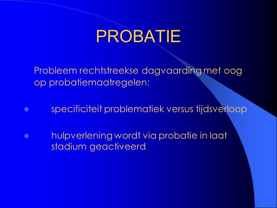 PROBATIE Probleem rechtstreekse dagvaarding met oog op probatiemaatregelen: specificiteit problematiek versus tijdsverloop hulpverlening wordt via probatie in laat stadium geactiveerd