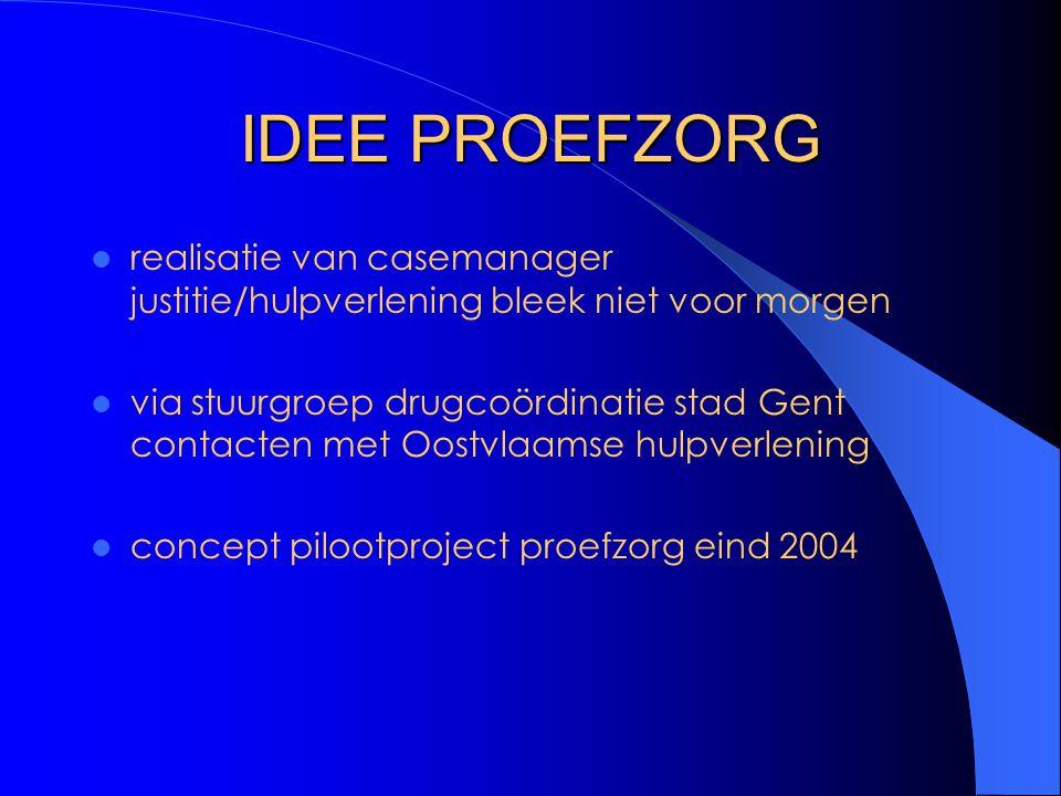 IDEE PROEFZORG realisatie van casemanager justitie/hulpverlening bleek niet voor morgen via stuurgroep drugcoördinatie stad Gent contacten met Oostvlaamse hulpverlening concept pilootproject proefzorg eind 2004