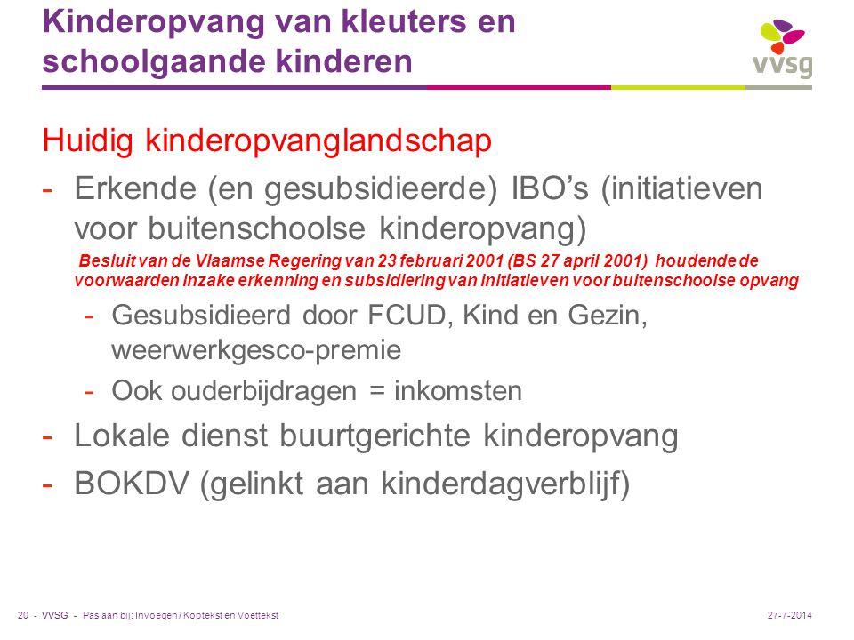 VVSG - Kinderopvang van kleuters en schoolgaande kinderen Huidig kinderopvanglandschap -Erkende (en gesubsidieerde) IBO's (initiatieven voor buitensch
