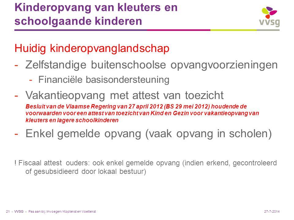 VVSG - Kinderopvang van kleuters en schoolgaande kinderen Huidig kinderopvanglandschap -Zelfstandige buitenschoolse opvangvoorzieningen -Financiële ba