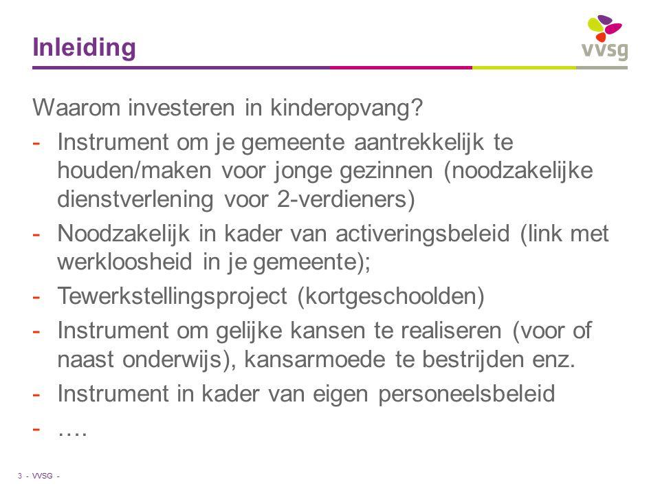 VVSG - Inleiding 4 - 3 functies van kinderopvang -Economische functie: Dankzij kinderopvang kunnen ouders gaan werken en voor een inkomen zorgen.