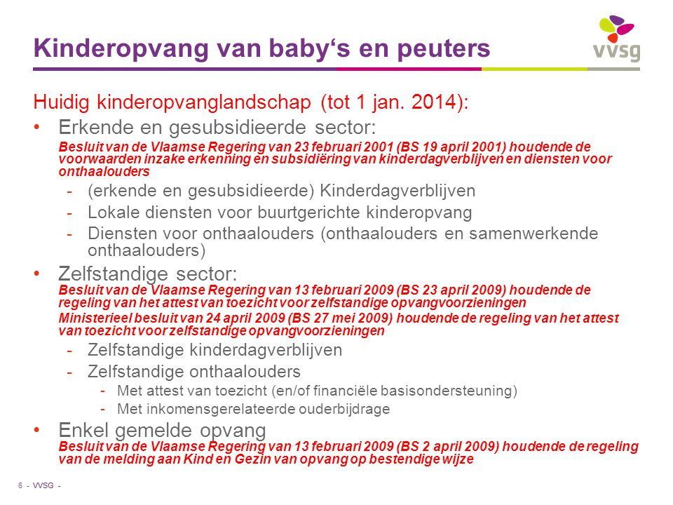 VVSG - Kinderopvang van baby's en peuters 6 - Huidig kinderopvanglandschap (tot 1 jan. 2014): Erkende en gesubsidieerde sector: Besluit van de Vlaamse