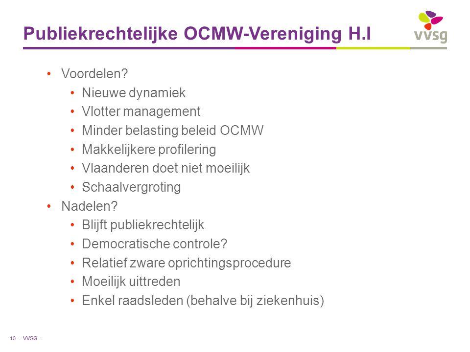 VVSG - Publiekrechtelijke OCMW-Vereniging H.I Voordelen? Nieuwe dynamiek Vlotter management Minder belasting beleid OCMW Makkelijkere profilering Vlaa