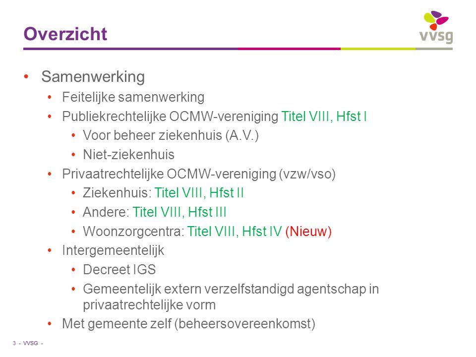 VVSG - Overzicht Samenwerking Feitelijke samenwerking Publiekrechtelijke OCMW-vereniging Titel VIII, Hfst I Voor beheer ziekenhuis (A.V.) Niet-ziekenh