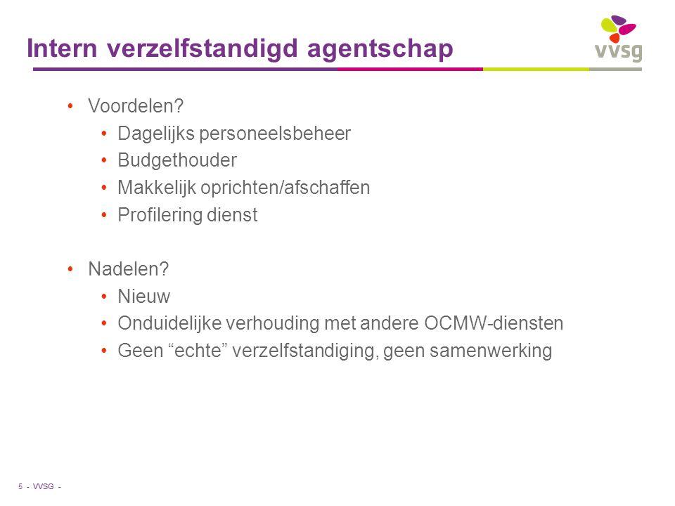 VVSG - Intern verzelfstandigd agentschap Voordelen? Dagelijks personeelsbeheer Budgethouder Makkelijk oprichten/afschaffen Profilering dienst Nadelen?