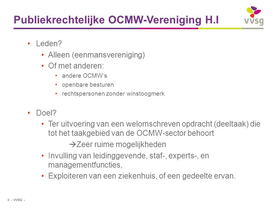 VVSG - Publiekrechtelijke OCMW-Vereniging H.I Leden? Alleen (eenmansvereniging) Of met anderen: andere OCMW's openbare besturen rechtspersonen zonder