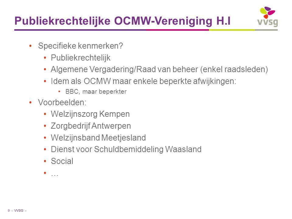 VVSG - Publiekrechtelijke OCMW-Vereniging H.I Specifieke kenmerken? Publiekrechtelijk Algemene Vergadering/Raad van beheer (enkel raadsleden) Idem als