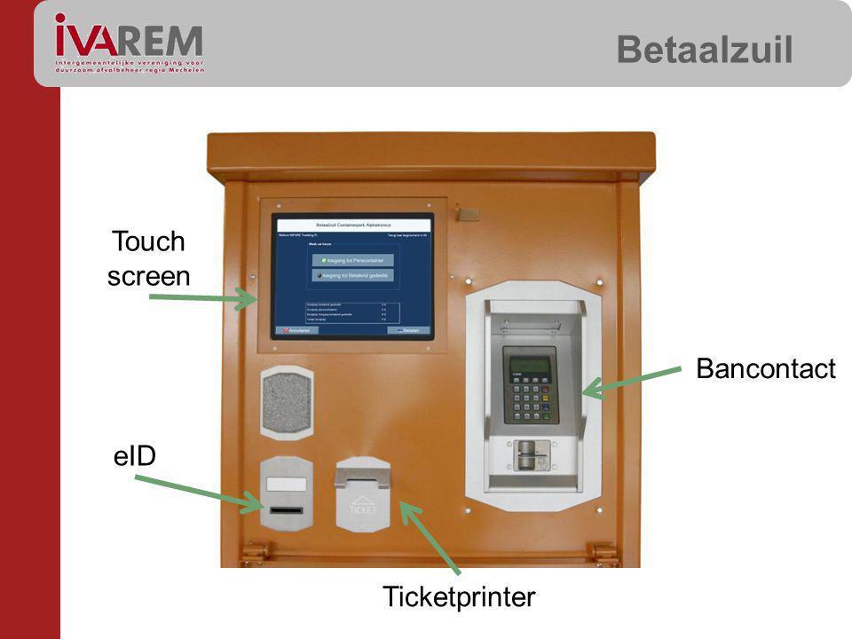Betaalzuil Bancontact Ticketprinter eID Touch screen
