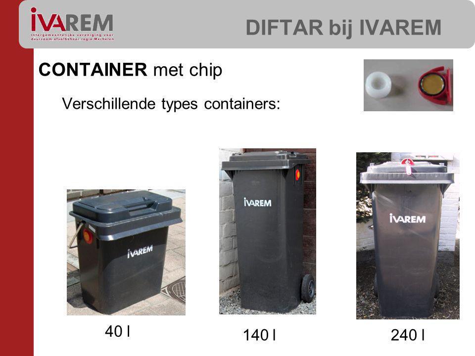 CONTAINER met chip Verschillende types containers: DIFTAR bij IVAREM 40 l 140 l240 l