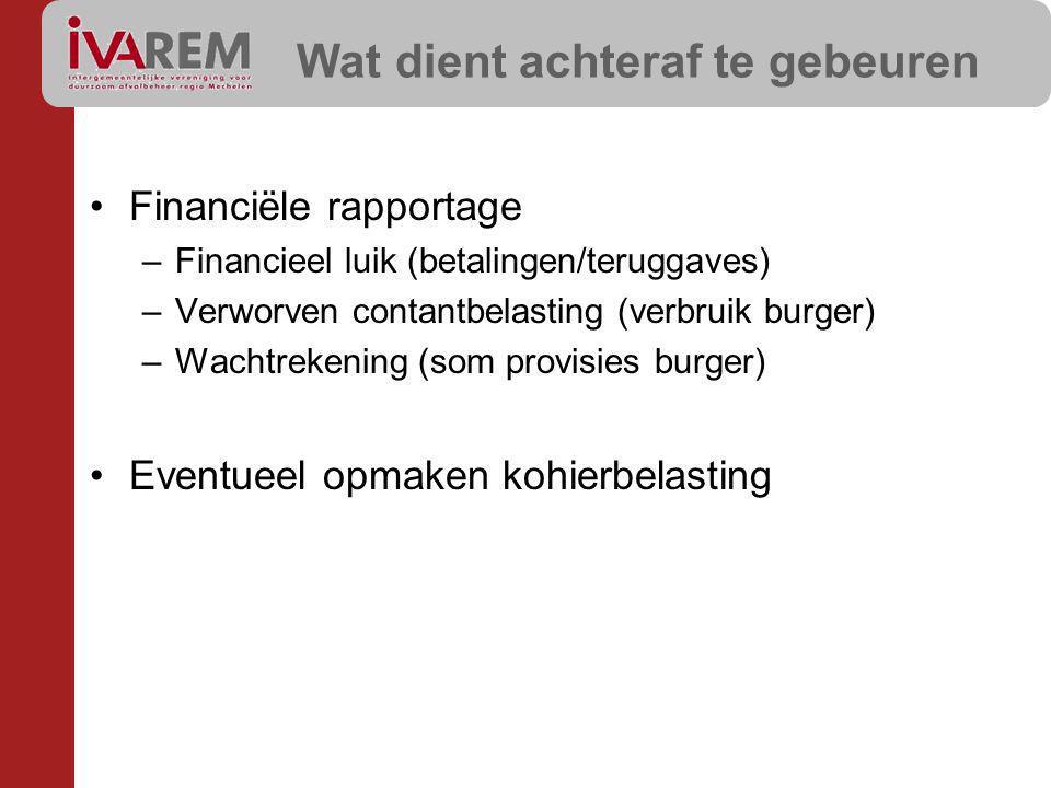 Wat dient achteraf te gebeuren Financiële rapportage –Financieel luik (betalingen/teruggaves) –Verworven contantbelasting (verbruik burger) –Wachtrekening (som provisies burger) Eventueel opmaken kohierbelasting