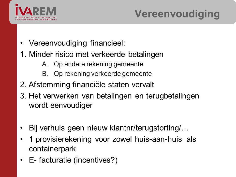 Vereenvoudiging Vereenvoudiging financieel: 1.Minder risico met verkeerde betalingen A.Op andere rekening gemeente B.Op rekening verkeerde gemeente 2.