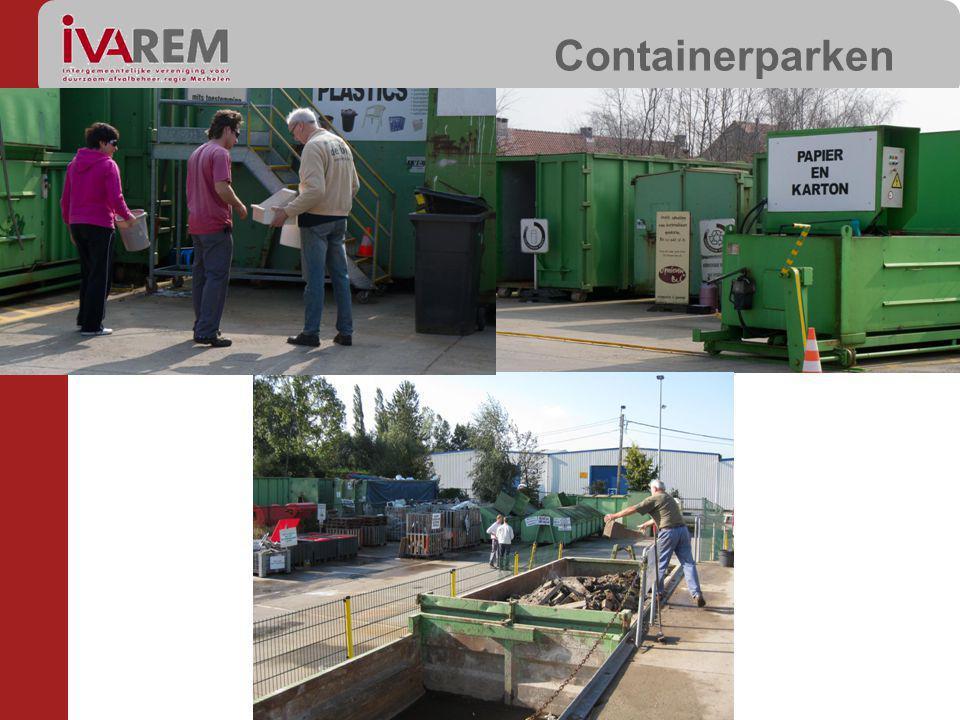 CONTAINER PARKEN EFFECTIEVE KOSTPRIJS (per gezin) DOORREKENING (per gezin) VARIABEL Grofvuil Containerpark (100%) 5,2 EUR/jaar (0,15m³/gezin á 35EUR/m³) waarvan 4,5 EUR verwerking 0,7EUR transport 3 EUR/jaar (0,15m³ á 5EUR/0,25m³) Selectieve fracties Containerpark (50%) 9 EUR/jaar (infrastructuur) 19 EUR/jaar (personeel+int) 24 EUR/jaar (exploitatie) (transport, verwerking, onderhoud,…) Kosten 34 EUR/jaar Opbrengsten -10 EUR/jaar 5 EUR/jaar 5 EUR/m³ (bouwafval,houtafval..) 5 EUR/extra toegang (> 28/jaar) 0,25 EU/roze zak (plastics) KGA Containerpark (0%) 4 EUR/jaar0 EUR/jaar