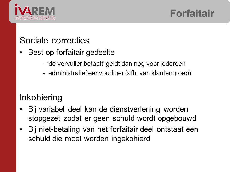 Forfaitair Sociale correcties Best op forfaitair gedeelte - 'de vervuiler betaalt' geldt dan nog voor iedereen - administratief eenvoudiger (afh. van